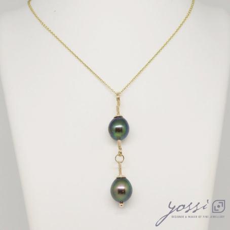 Unique Double Drop Black Dyed Freshwater Pearl & Rose Gold Pendant 3