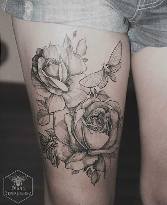 Rose Thigh Tattoo Designs Women