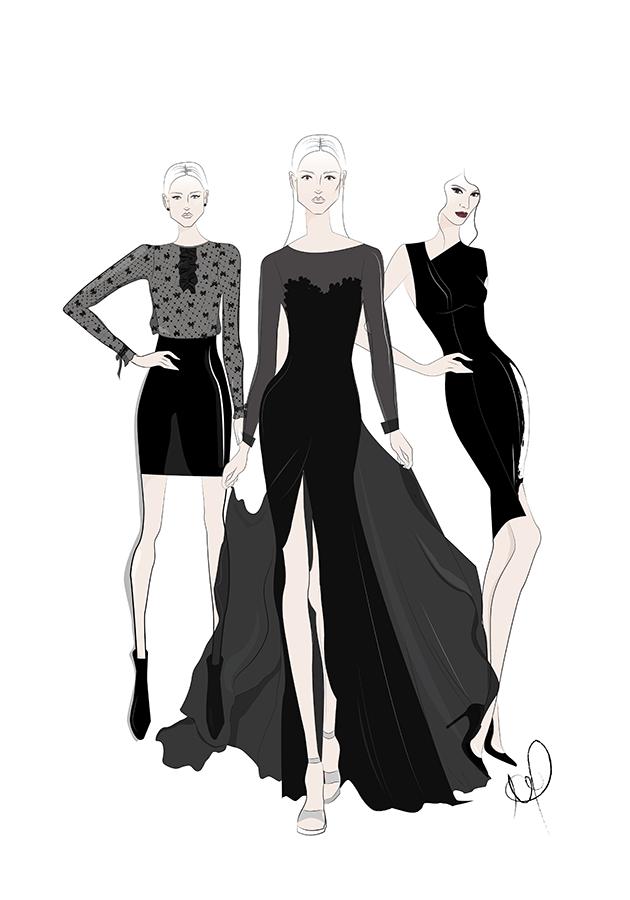 Fashion Illustration Black Outfits