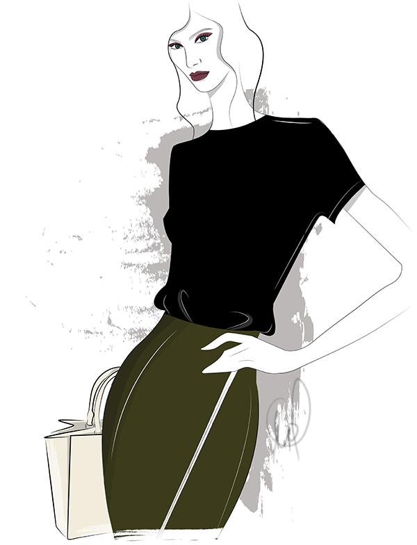 Fashion Illustration oliv und schwarz kombinieren