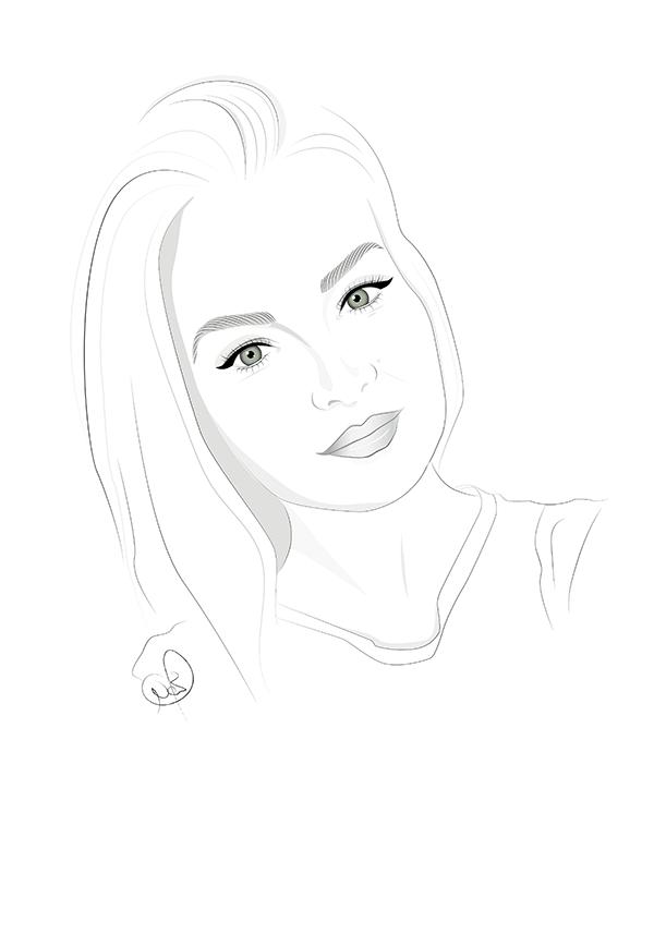 Portrait Illustration schwarz weiß