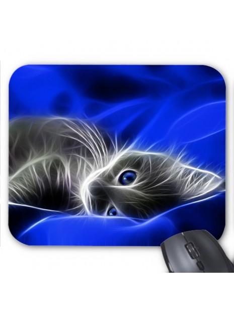 tapis de souris chat design bleu ref 3659