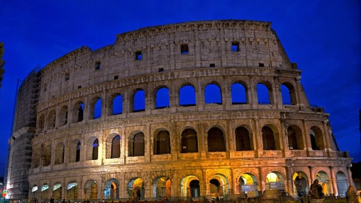 The night view of the Colosseum, Rome