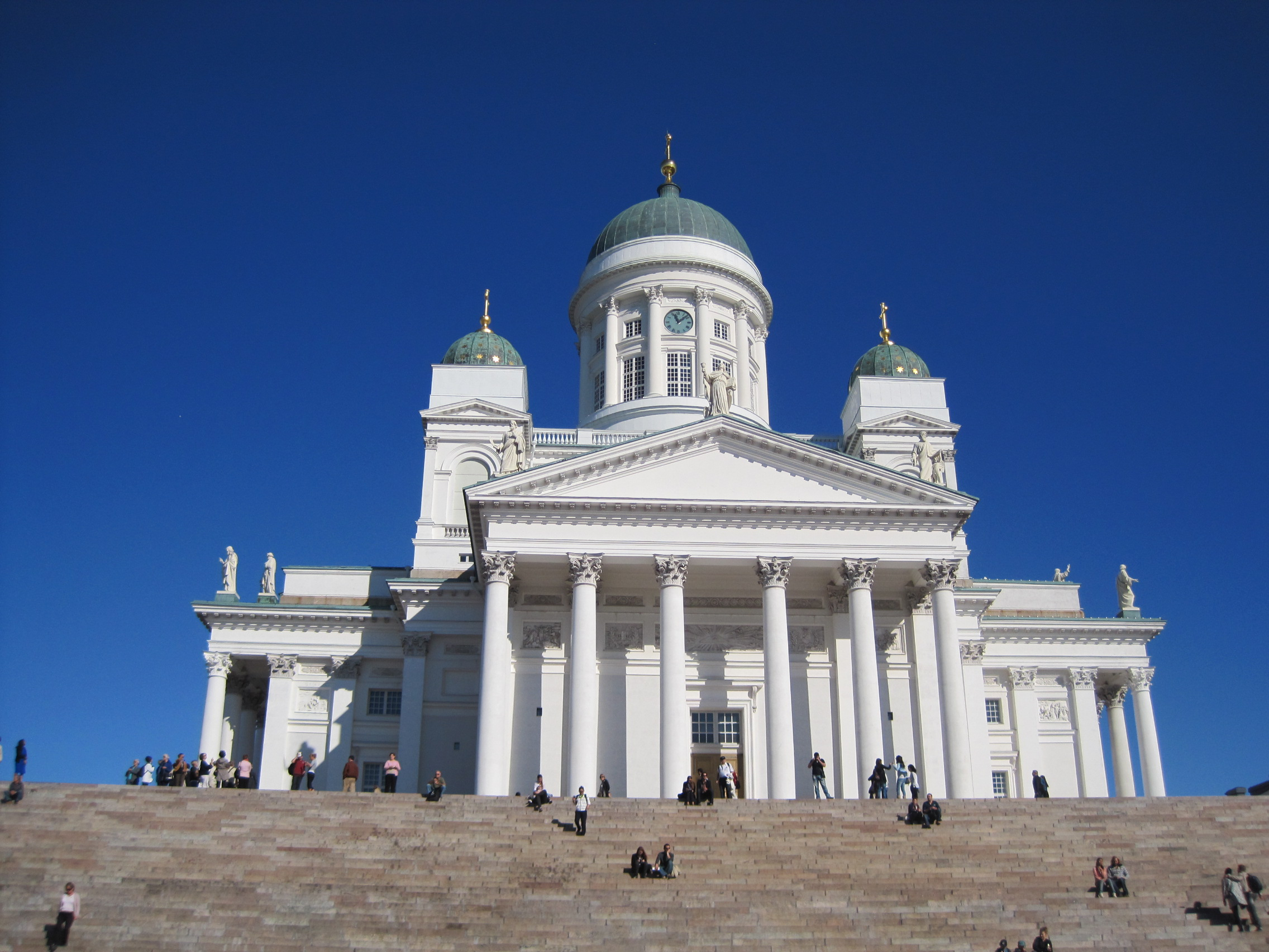 Tuomiokirkko The white neoclassical Lutheran Cathedral of Helsinki.