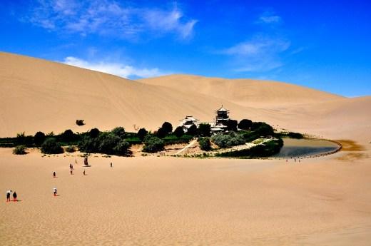 Yueyaquan Oasis, Dunhuang in Gansu Province, China