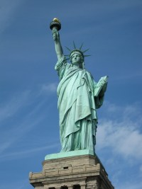 The Statue of Liberty  on Liberty Island in New York Harbor, USA