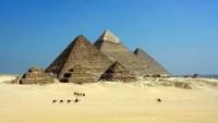 Giza pyramid complex, Giza Plateau, Cairo, Egypt.