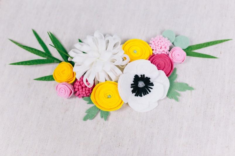 DIY Stoffblumen selber machen - Ranunkel, Anemone, Dahlie, Eukalyptus, Palme