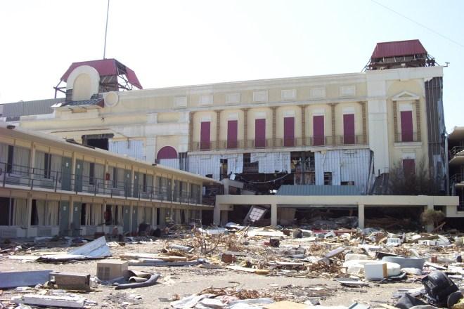 A casino inside a motel along Hwy 90 on the Mississippi Gulf Coast following Katrina