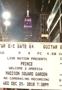 Our ticket to the show at Madison Square Garden. They lit up the Empire State Building in purple.