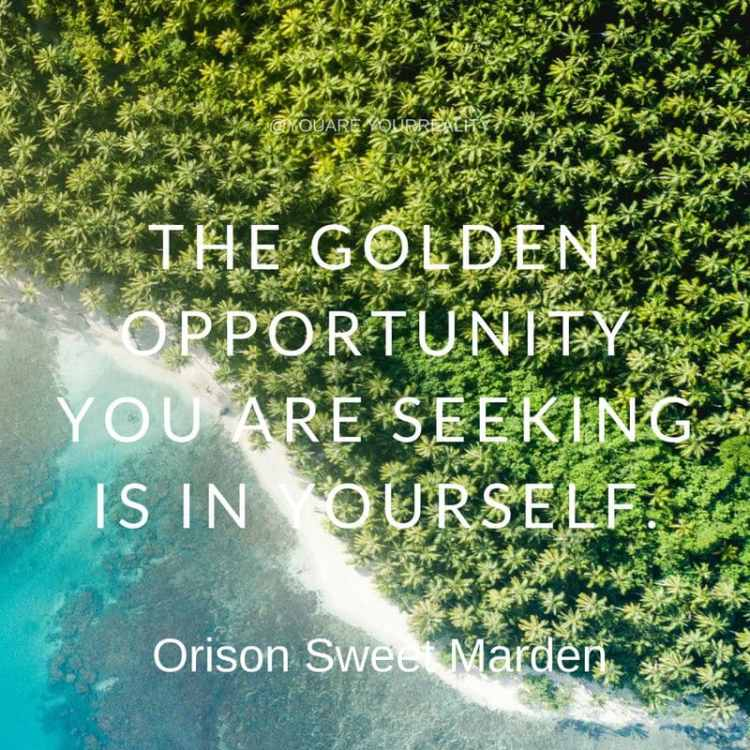 "The golden opportunity you are seeking is in yourself."" - Orison Sweet Marden"