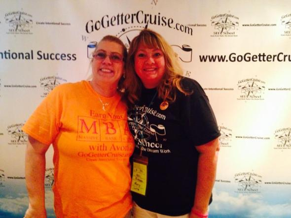 My upline, Liz Mench, an d me on the cruise