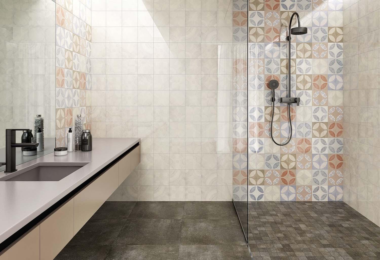 Piastrelle cementine per bagno bagno in stile industriale