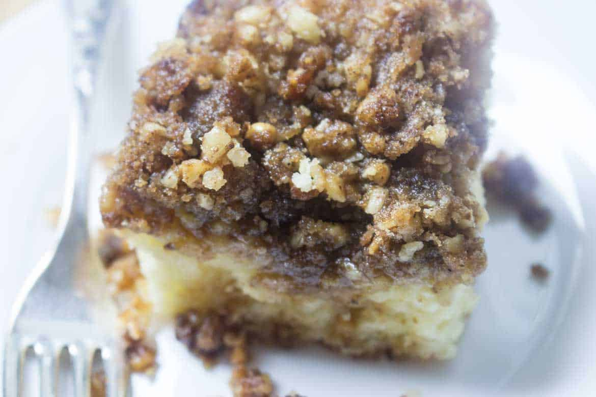 coffee cake with caramel topping close up photo