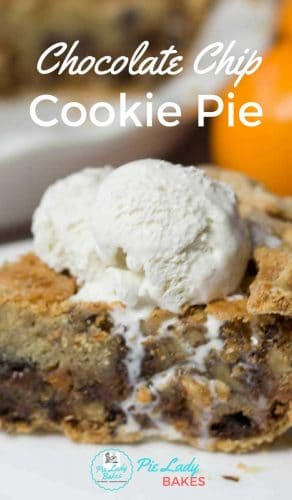 close up of slice of chocolate chip cookie pie with vanilla ice cream on white plate image of white pie plate in background