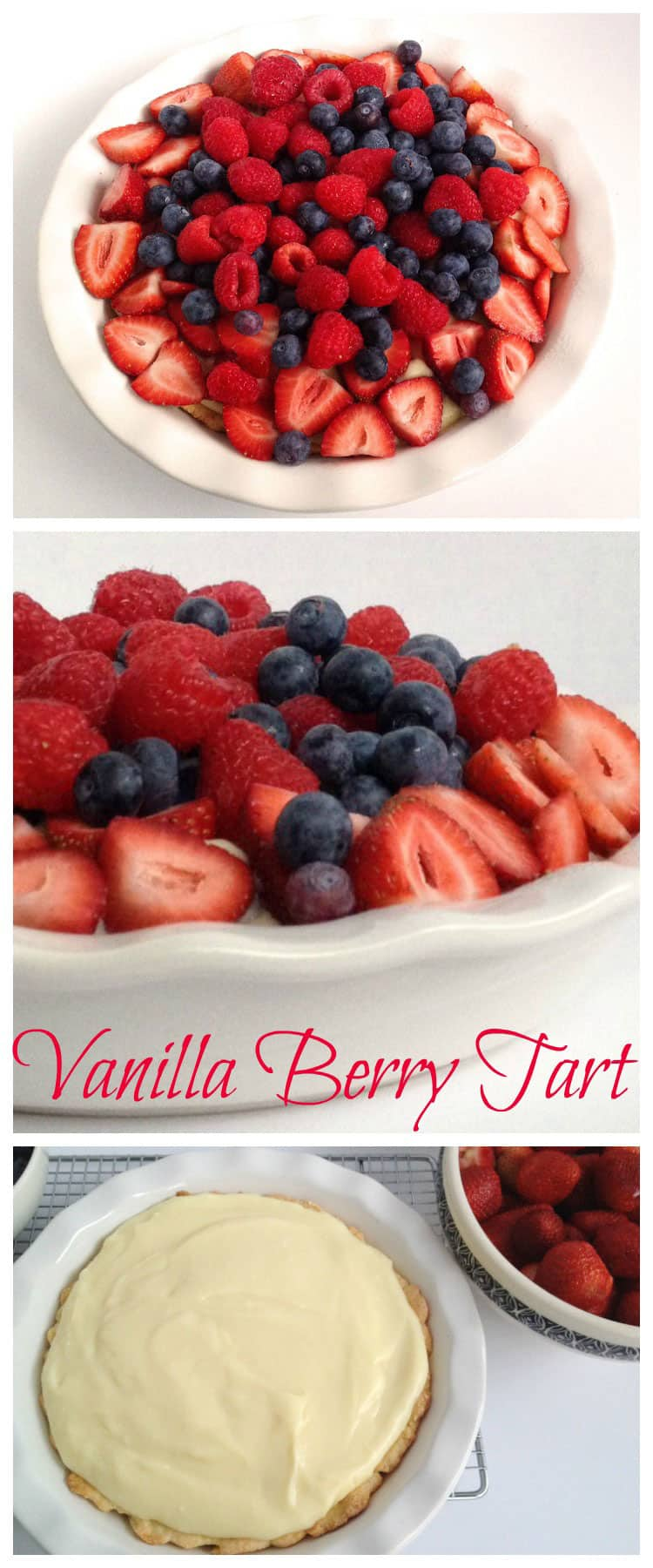 This amazing Vanilla Berry Tart is so easy to make, and looks so gorgeous, you will be asked to make it again and again. It's so delicious! Vanilla cream, delicious fresh berries on a sugar cookie crust!