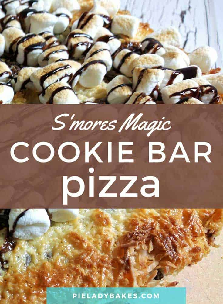 This magic cookie bar recipe becomes an All Dressed Dessert Pizza! The ooey gooey combination of chocolate, coconut, and graham crackers topped with a thick layer of sweetened condensed milk – oh wow!  Just like a S'mores Magic Cookie Bar Dessert Pizza! You know what I mean! #magiccookiebar #eaglebrandcondensedmilk #7layerbars #chocolate #easyrecipes #vintagerecipes #smores
