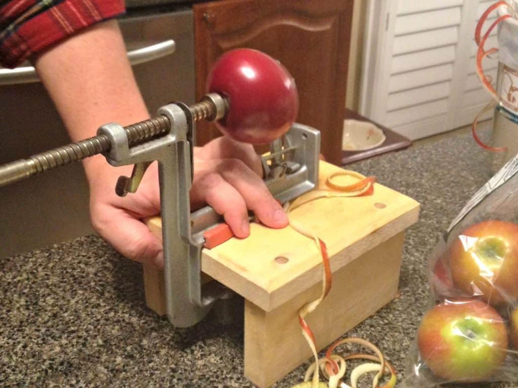 apple pie crazy peeling apples
