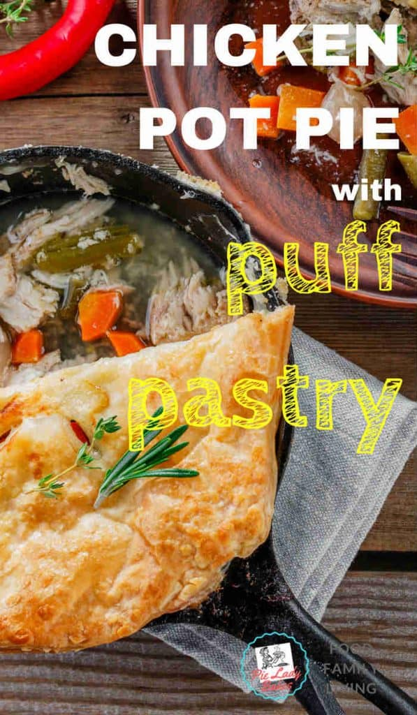 This homemade Chicken Pot Pie Recipe with puff pastry is the easiest recipe you will ever make! One roasted chicken, frozen puff pastry, some veggies and PRESTO! A Chicken Pie even the Pioneer Woman will love!