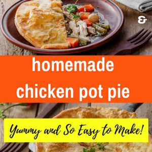 Chicken Pot Pie two images first in black cast iron skillet and serving of pot pie on a brown plate with brown fork in puff pastry with serving removed on a brown plate and brown fork