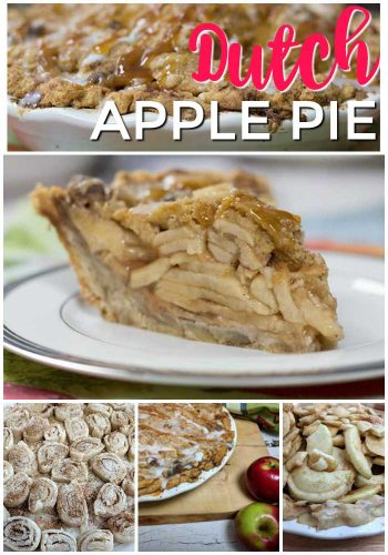 Dutch apple pie collage of different steps, making the pie crust, mixing the apples and a baked pie