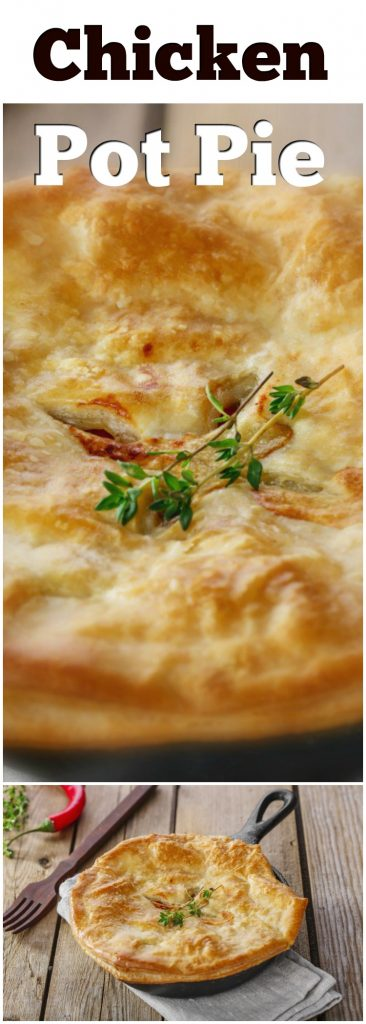 two images of Chicken Pot Pie in Puff Pastry baked in a cast iron skillet with text on top for pinterest