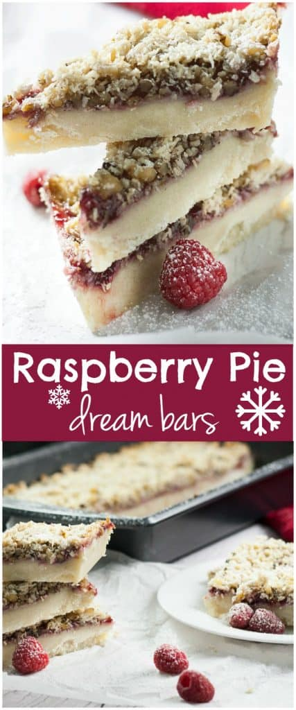 Raspberry Pie Dream Bars. A classic 13 X 9 pan recipe with a twist. You will love how easy these pie bars are to make with just a few ingredients!