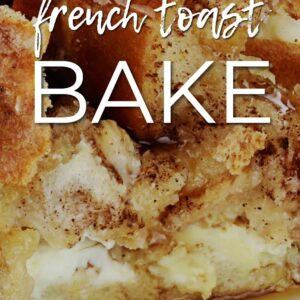 closeup image of french toast shows maple syrup on a white plate with text overnight french toast bake