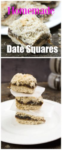 homemade date squares text in pink and white over image of three date squares on a white dessert plate and wooden table top