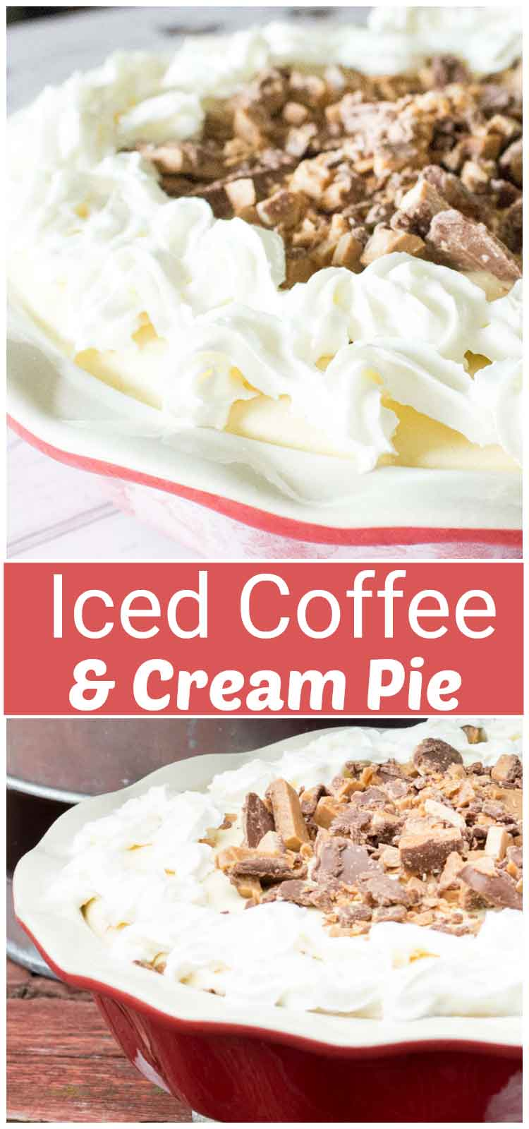 Iced Coffee and Cream Pie? An ice cream pie that tastes like an iced cappuccino and is a cool, yummy treat - one slice just won't be enough! This Iced Coffee and Cream Pie is so easy to make and is a delicious combo of chocolate, vanilla and caramel, with just a hint of coffee liqueur!