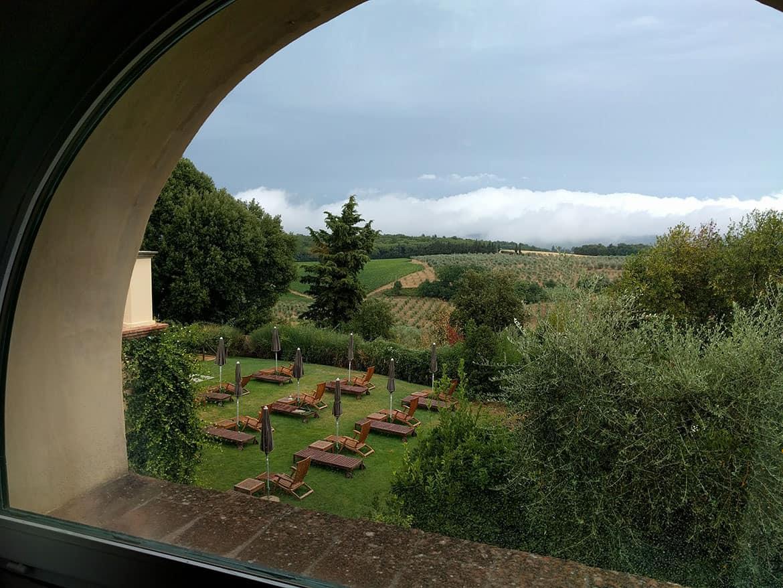 View of countryside, Castello del Nero, Tavarnale del la pesa, Italy