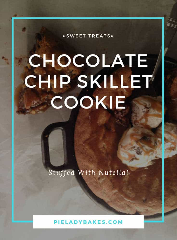 An amazing recipe that takes a chocolate chip skillet cookie, stuffs it with Nutella, slathers on Moose Tracks ice cream, & drowns it Salted Caramel Sauce. This Skillet Cookie will make every chocolate chip cookie lover swoon! #chocolatechip #tollhouse #skilletcookie