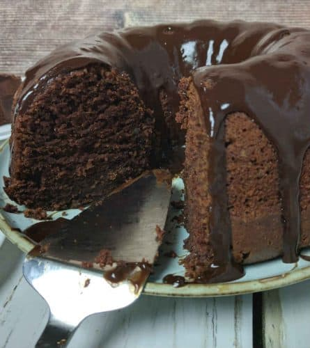chocolate buttermilk bundt cake sliced and ready to eat