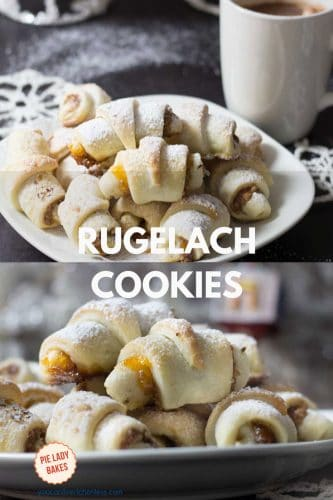 rugelach cookies on white plate with christmas tree in the background