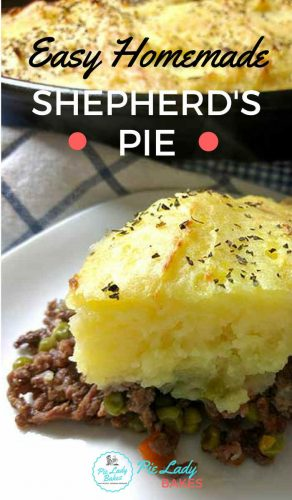 Easy Homemade Shepherd's Pie text overlay shows serving on a white plate and rest of shepherd's pie in the background on a blue and white checked napkin