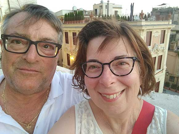 Mark and Judy Kahansky with view of Spanish Steps, Rome, Italy in the background