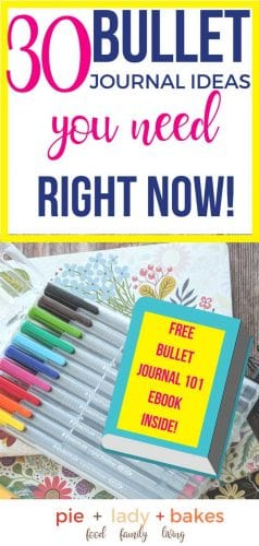 graphic image for pinterest says 30 bullet journal ideas you can use right now and shows free bullet journal 101 ebook image inside