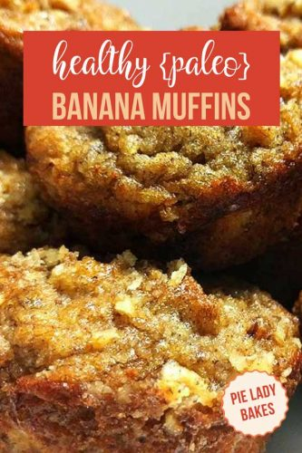 closeup image of two banana muffins with text health paleo banana muffins on red background