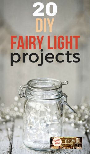 mason jar with fairy lights inside and outside jar and text 20 DIY fairly light projects overlay