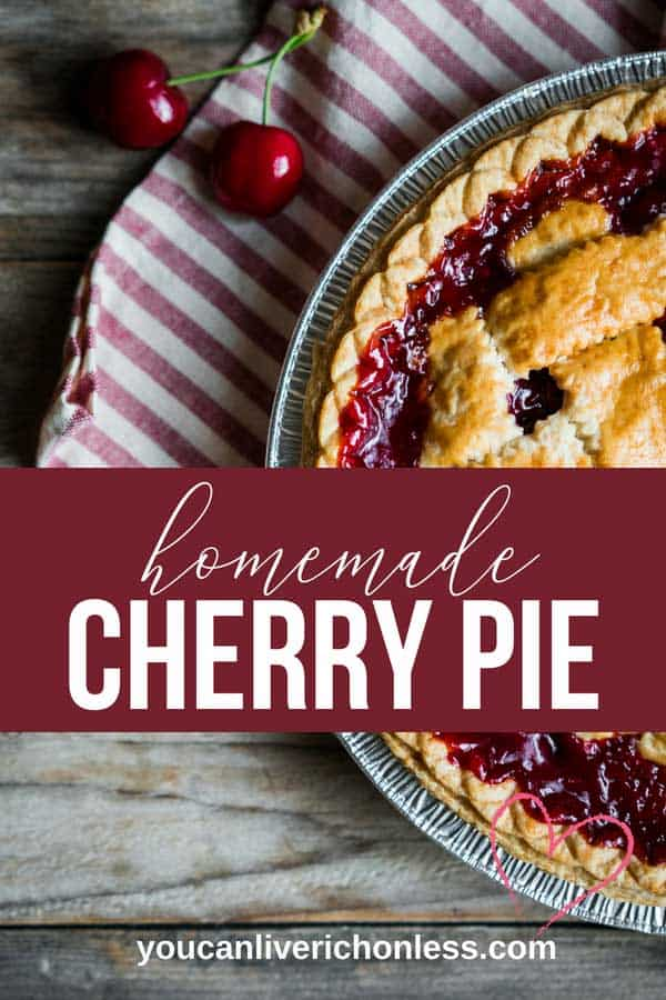 This Cherry pie recipe is so easy and delicious you won't want to wait for summer! Cause we all know that cherry pie and summer are a match made in heaven! Am I right? Those sweet juicy cherries smothered by flaky, buttery pastry. Delicious! Check out the how to make perfect flaky pie crust video in the post! #cherrypie #perfectflakypiecrust #howdoimakecherrypie #pie #piecrust #dessertrecipes #bestdesserts #cherry #ilovepie #youcanliverichonless
