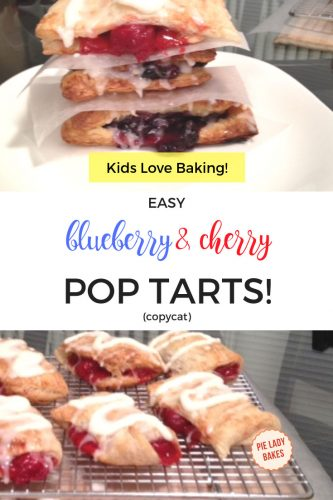 two images cherry and blueberry hand pies with sugar glaze on a white plate and six cherry puff pastry pies on cooling rack with text Kids love baking, easy blueberry and cherry pop tarts copycat