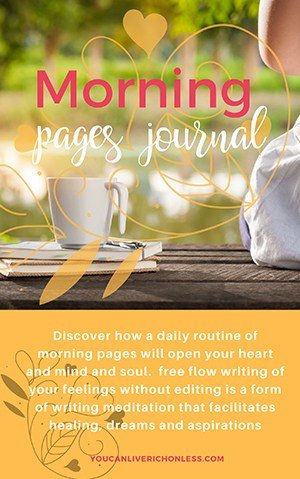 cover of morning pages workbook shows a woman on a dock looking out over water and greenery in the background a cup of coffee and journal beside her to the left
