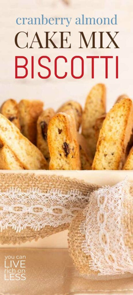cranberry almond cake mix biscotti pinterest image with text on top and closeup image
