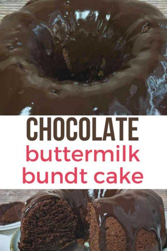Pinterest image overview shot of chocolate cake with white box in the middle and pink and brown text that reads chocolate buttermilk bundt cake