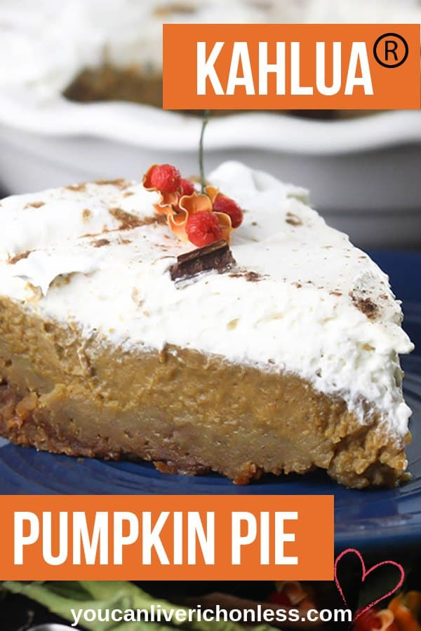 If you are looking for the ultimate pumpkin pie recipe for the Holidays, then look no further!  This Kahlua Pumpkin Pie recipe is a delicious combination of pumpkin, spice, and a sweet and smoky splash of real Kahlua.  And just look at that whipped cream! #kahlua #pumpkinpie #homemadepumpkinpie #whippedcream #pumpkin