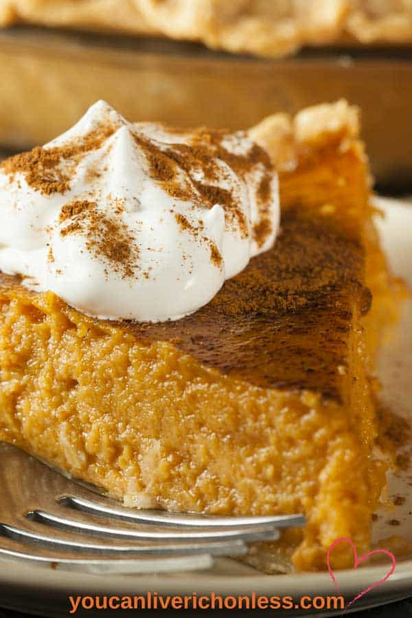 closeup of pumpkin pie slice with whipping cream and spice sprinkled on top