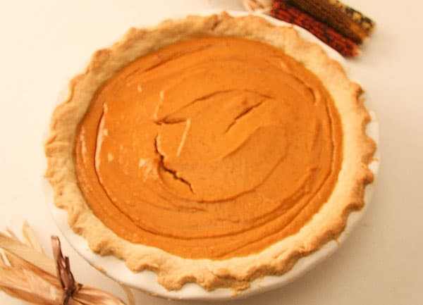 gluten free pumpkin pie with top slightly cracked
