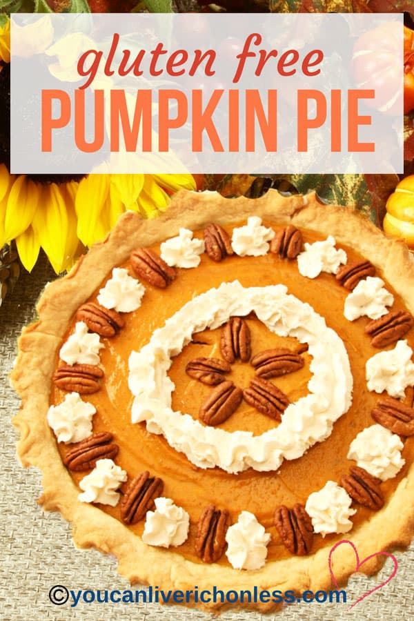 Gluten free pumpkin pie with sunflower, and fall harvest background