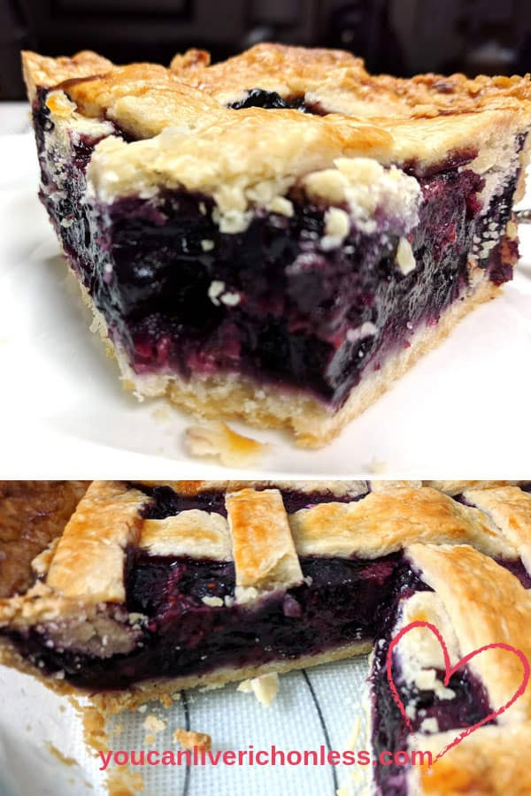 Just look at the rich colors of this Razzleberry Pie! Deep reds and purples from #raspberries, #blueberries & #blackberries!  Razzleberry Pie Filling is so easy to make, this just might become your new favorite pie!  You can use frozen berries or fresh!  Look at the golden buttery pie crust.  #razzleberrypie #homemadepie #holidaydesserts #tripleberrypie #holidaydesserts #thanksgiving #piecrust #razzleberrypiefilling #razzleberrypierecipe #mariecalendar #youcanliverichonless