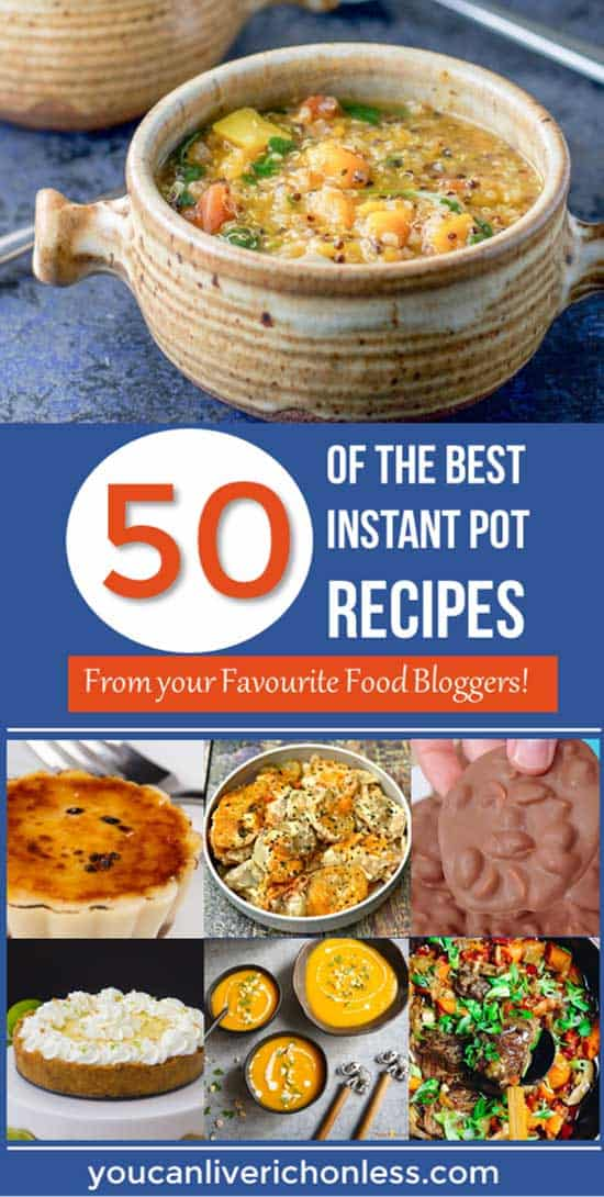 collage of soups, stews, cheesecake and best instant pot recipes on a blue background with white and orange text